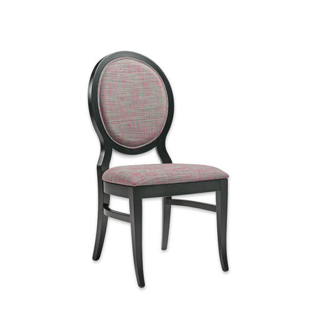 Eliza Round Back Upholstered Patterned Chair with Show Wood Frame 3028 RC1
