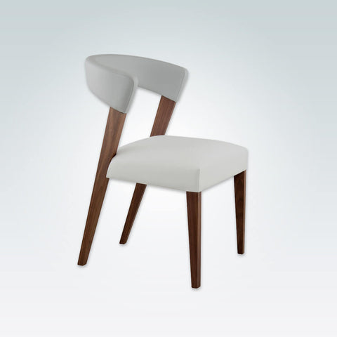 Elli White Leather Dining Room Chair With Curved Backrest And Show Wood  Frame 3069 RC1 ...