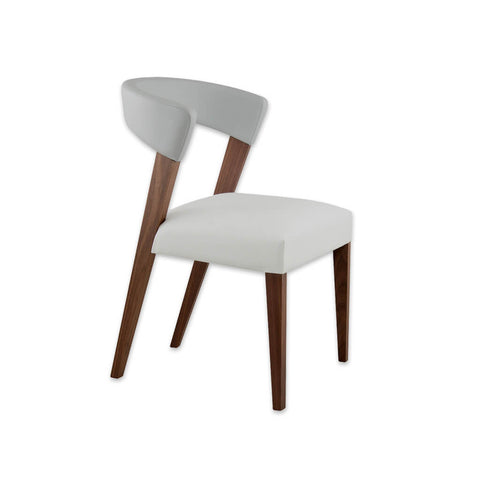 Elli White Leather Dining Room Chair with Curved Backrest and Show Wood Frame 3069 RC1