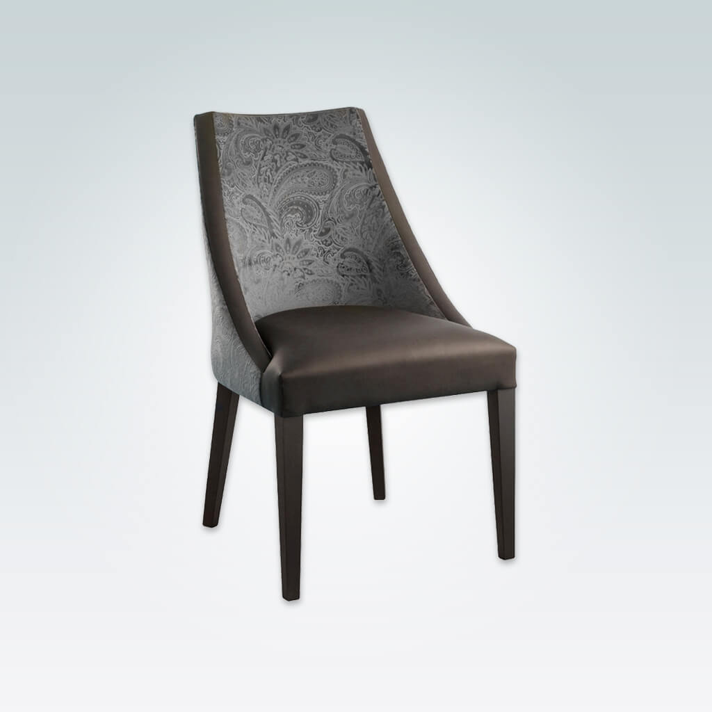 Elsa Curved Dining Chair with Two Tone Fabric and Tapered Legs 3077 RC1