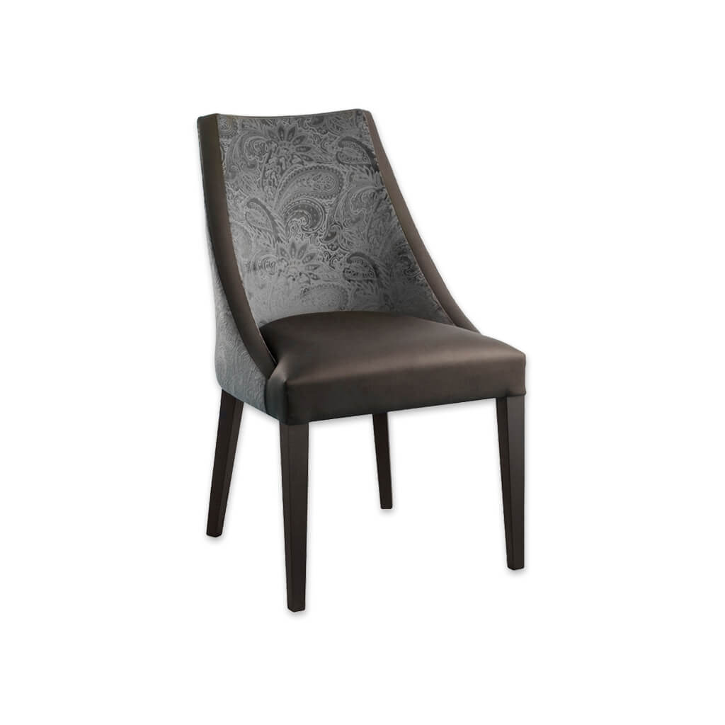Elsa Curved Dining Chair with Two Tone Fabric and Tapered Legs 3077 RC1 - Designer Image