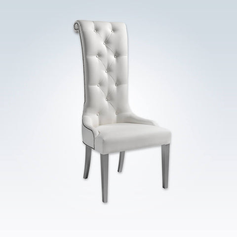 Elysee white accent chair with high scrolled back and buttoning 7006 AT1