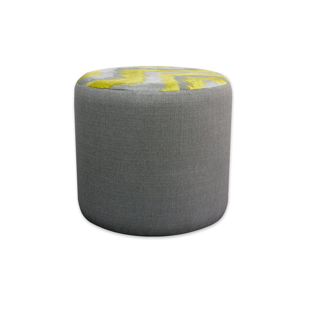 Enya upholstered grey circle ottoman with contrast fabric to the top 10005 OT1 - Designers Image