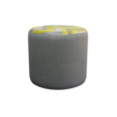 Enya upholstered grey circle ottoman with contrast fabric to the top 10005 OT1