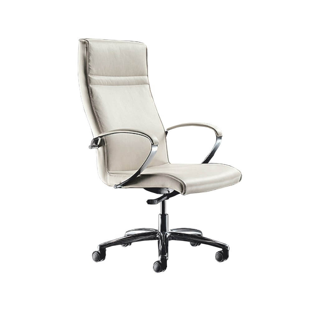 Esther High Back Upholstered White Swivel Desk Chair with Metal Armrests 5020 DC1 - Designers Image