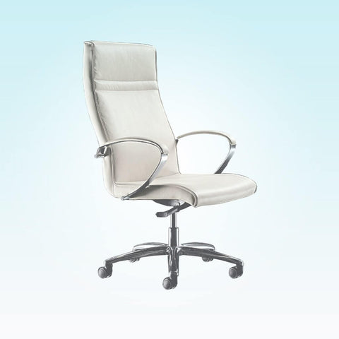 Esther High Back Upholstered White Swivel Desk Chair with Metal Armrests 5020 DC1