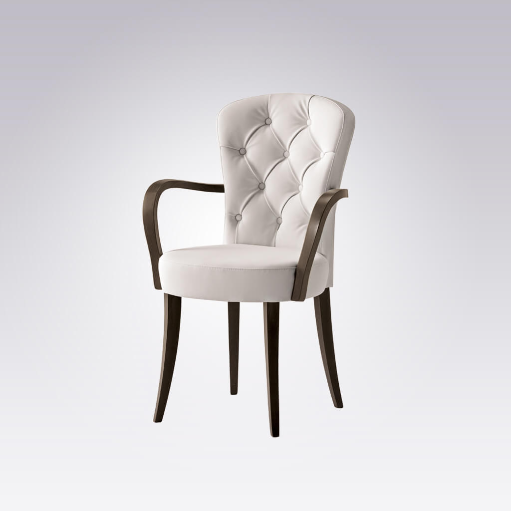 Euforia White Upholstered Armchair with Buttoned Back and Dark Brown Legs and Arms 4015 AC1