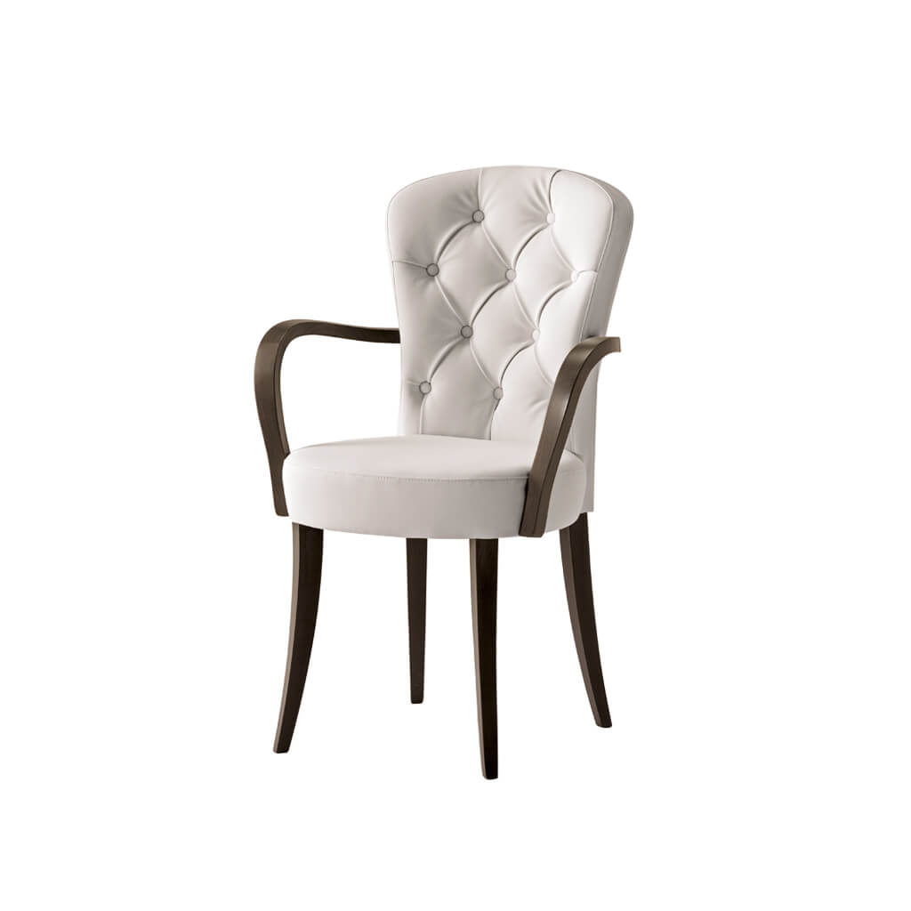 Euforia White Upholstered Armchair with Buttoned Back and Dark Brown Legs and Arms 4015 AC1 - Designers Image