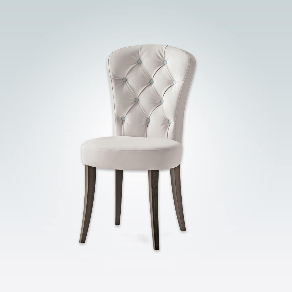 Euforia Button Back Dining Chair Rounded Lines in Faux White Leather with Contrasting Buttons and Timber Legs 3029 RC1