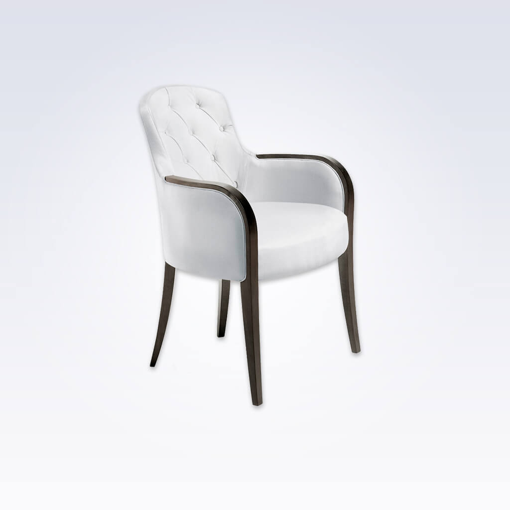 Euforia Upholstered White Leather Tub Chair With Buttoned Back And Curved  Show Wood Armrests 2025 TC1