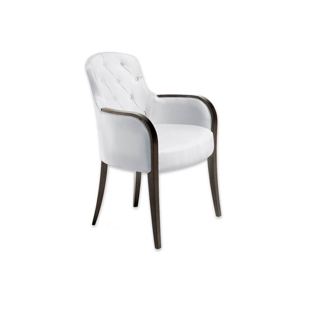 Euforia Upholstered White Leather Tub Chair With Buttoned Back And Curved Show Wood Armrests 2025 TC1 - Designers Image