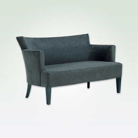 Evelyne dark grey suede sofa with sweeping back angular arms and tapered feet DI01 SF2