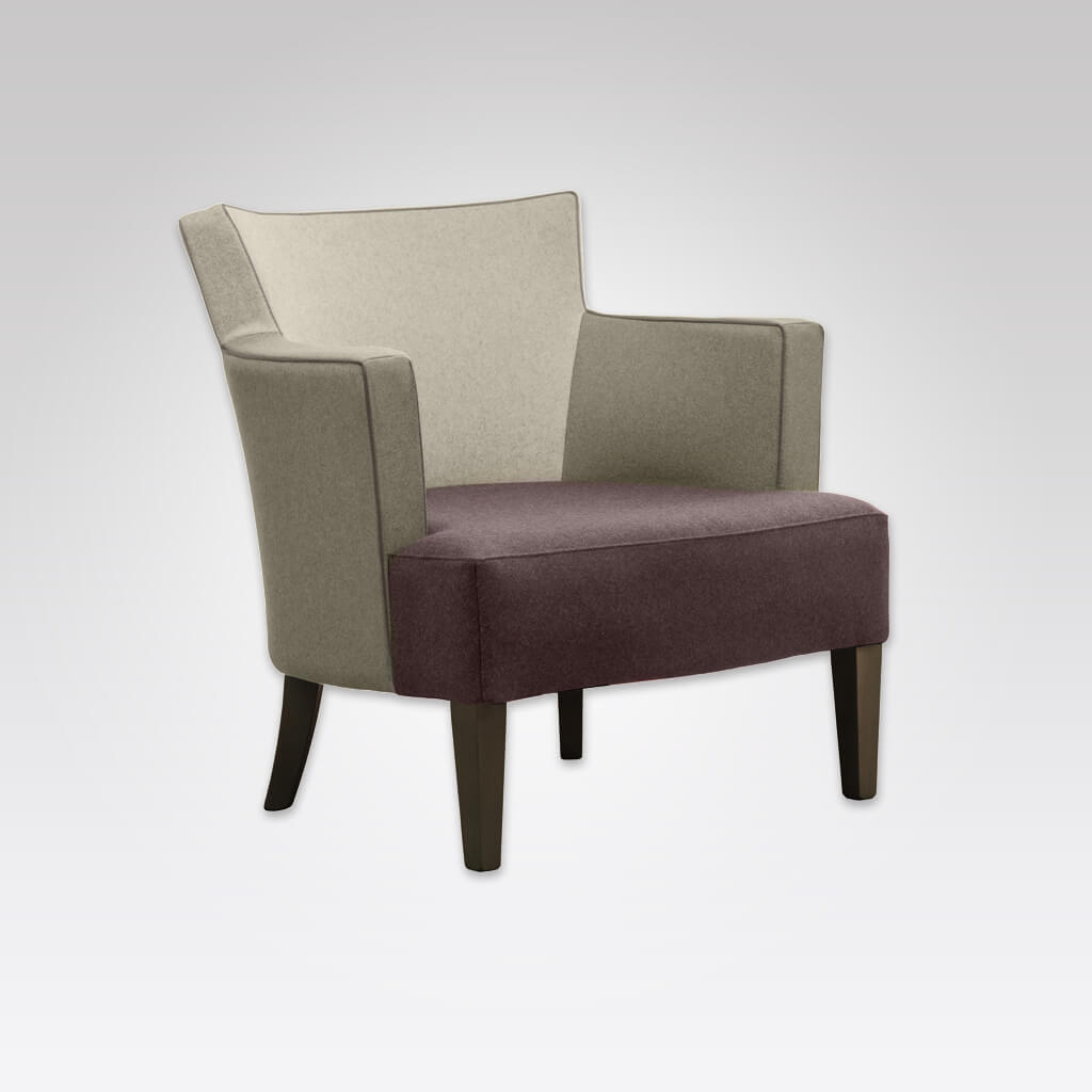 Evelyne Fully Upholstered Brown Armchair with Armrests Tapered Timber Legs and Contrasting Piping PL01 LC2