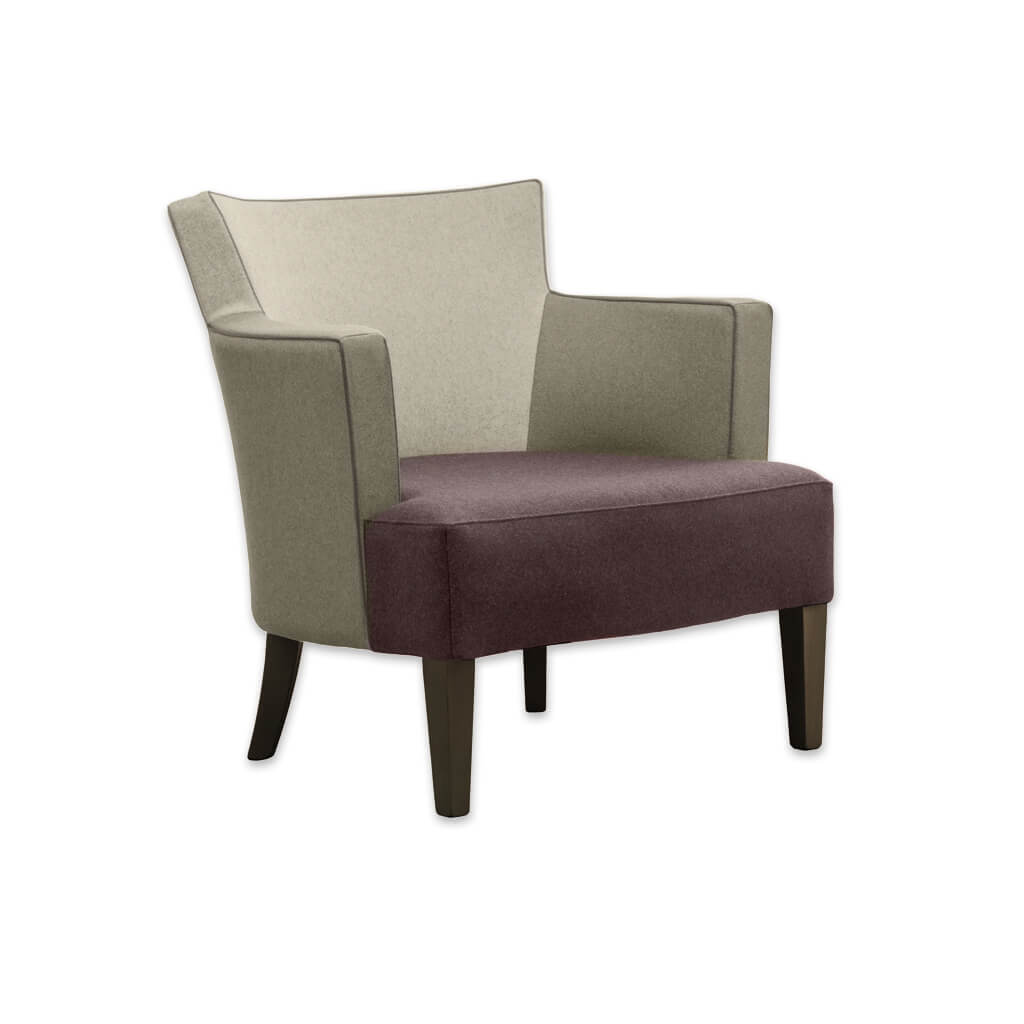 Evelyne Fully Upholstered Brown Armchair with Armrests Tapered Timber Legs and Contrasting Piping PL01 LC2 - Designers Image