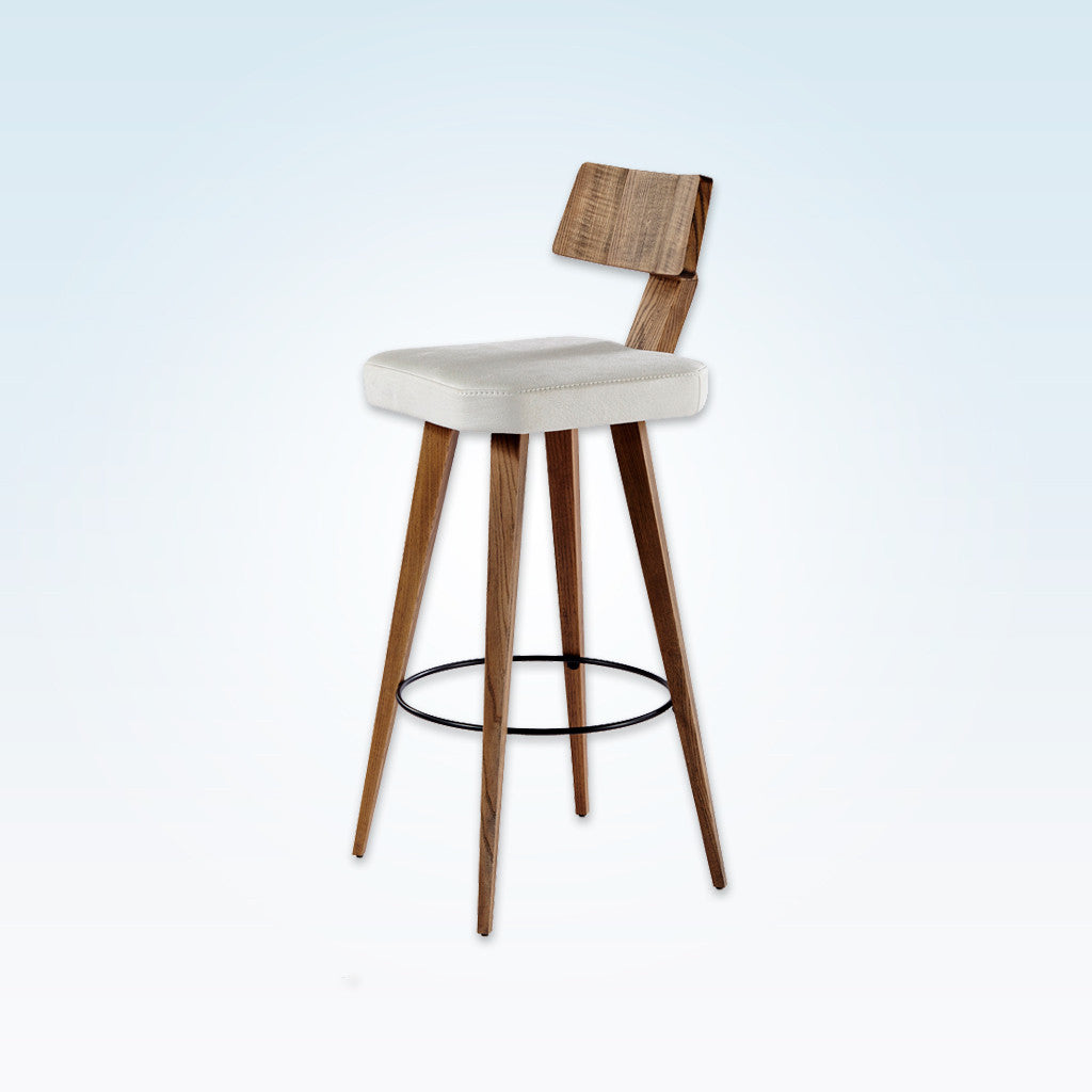 Fiji square white bar chair with show wood backrest and wooden legs 6001 BR1