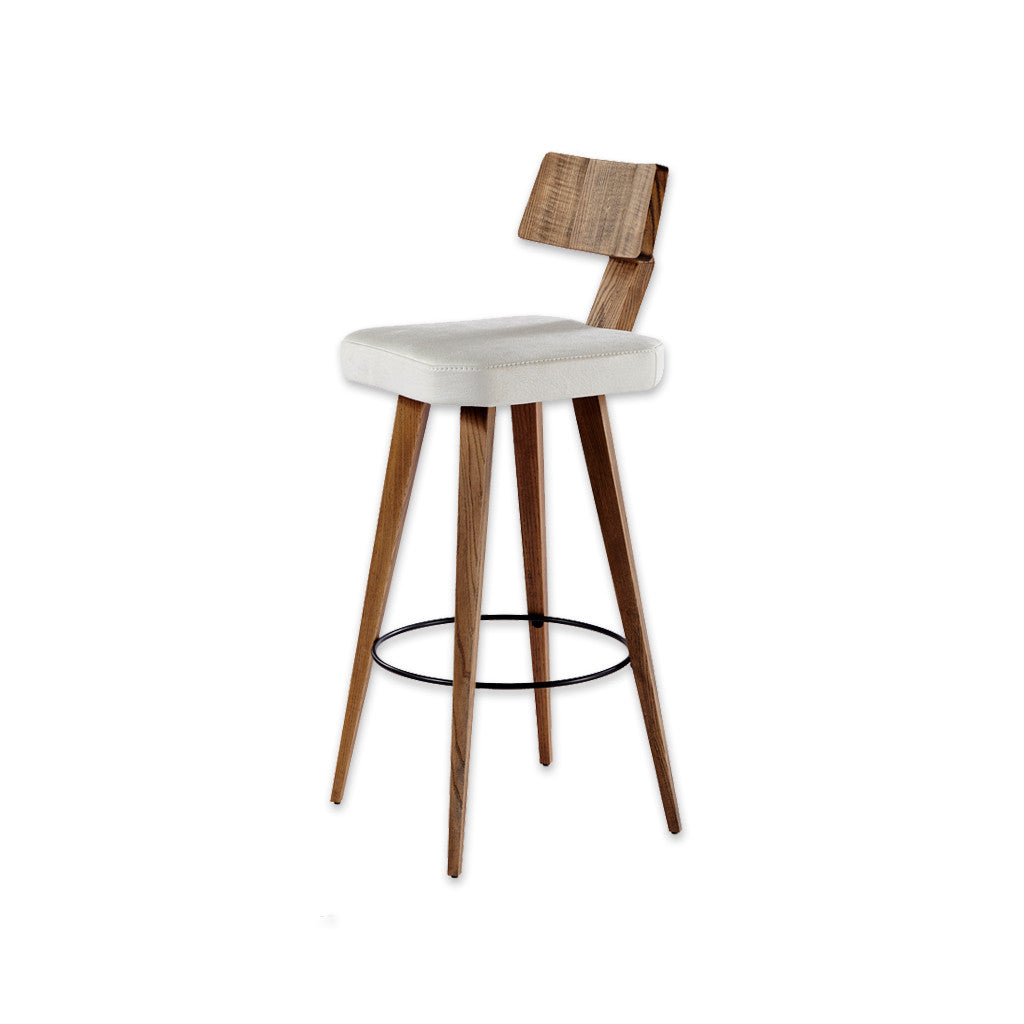 Fiji square white bar chair with show wood backrest and wooden legs 6001 BR1 - Designers Image