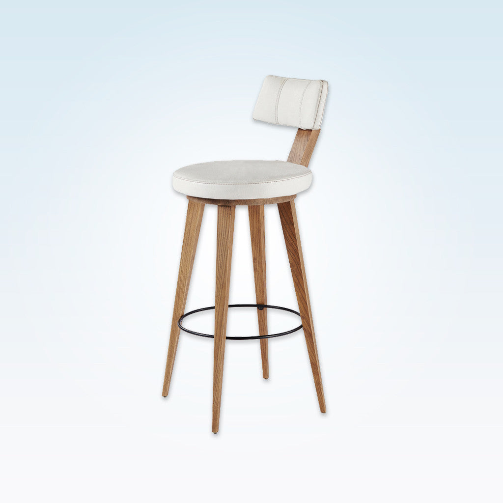 Fiji Contract Bar Stool 6001 BR2Fiji round white bar stool with wooden legs and round metal kick plate 6001 BR2