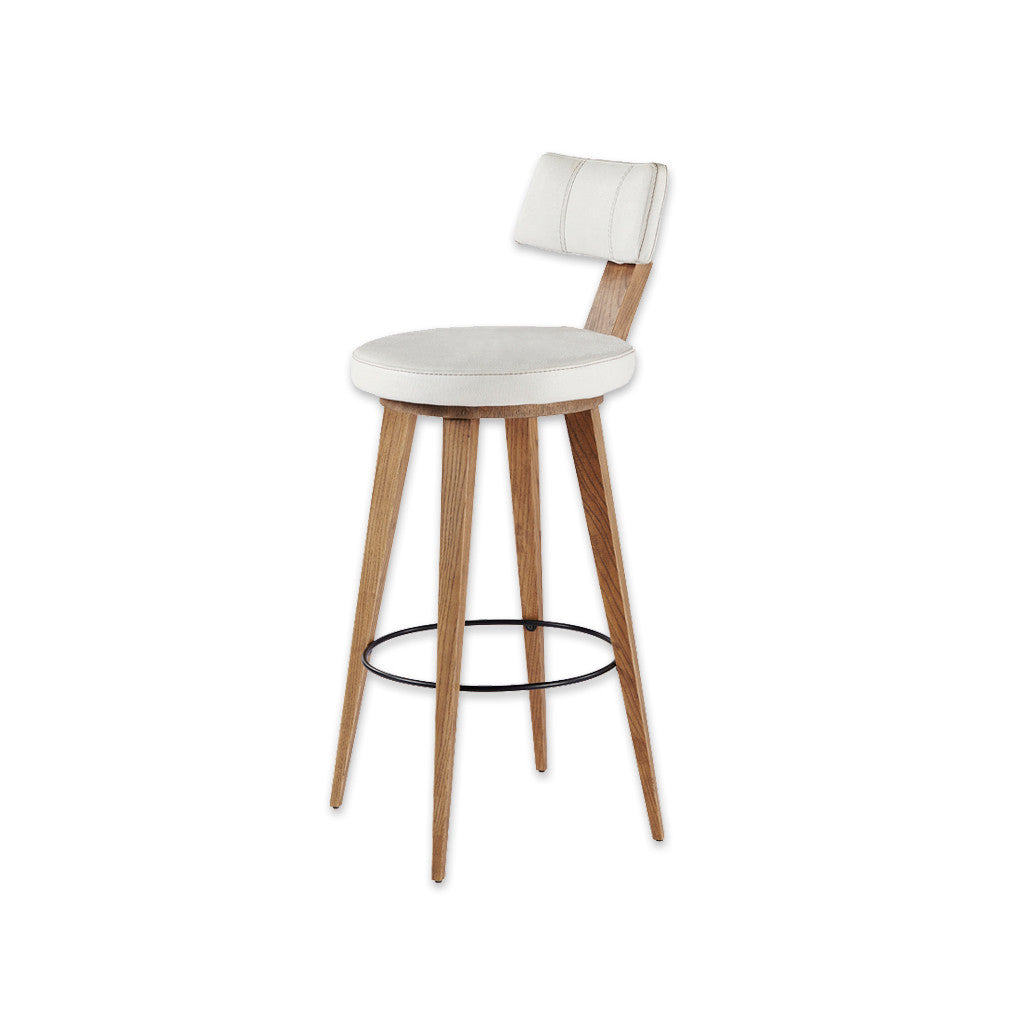 Fiji round white bar stool with wooden legs and round metal kick plate 6001 BR2 - Designers Image
