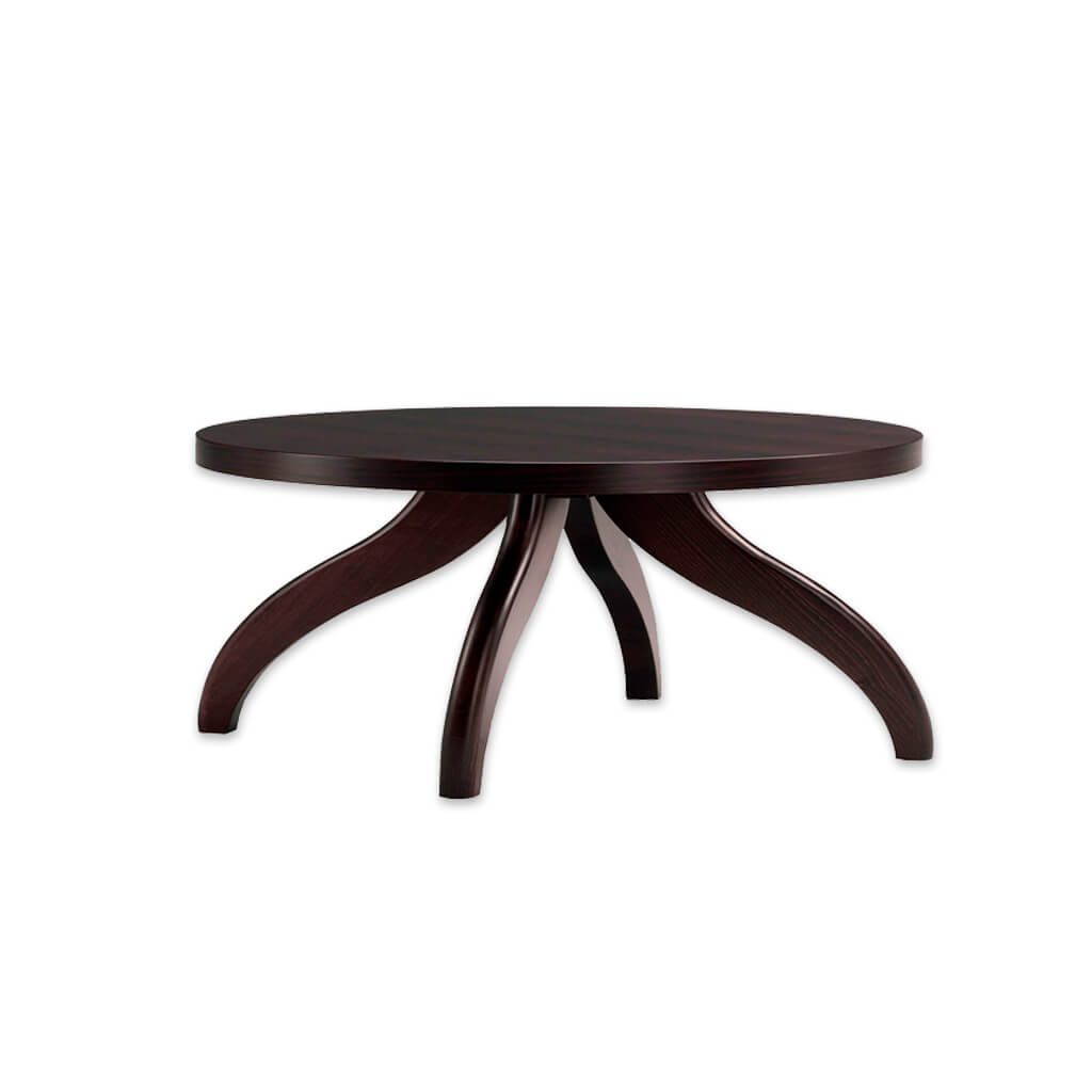 Finessi wooden dark brown bar table with curved legs and round top. 1111 - Designers Image
