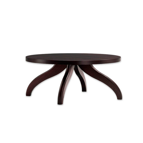 Finessi wooden dark brown bar table with curved legs and round top. 1111