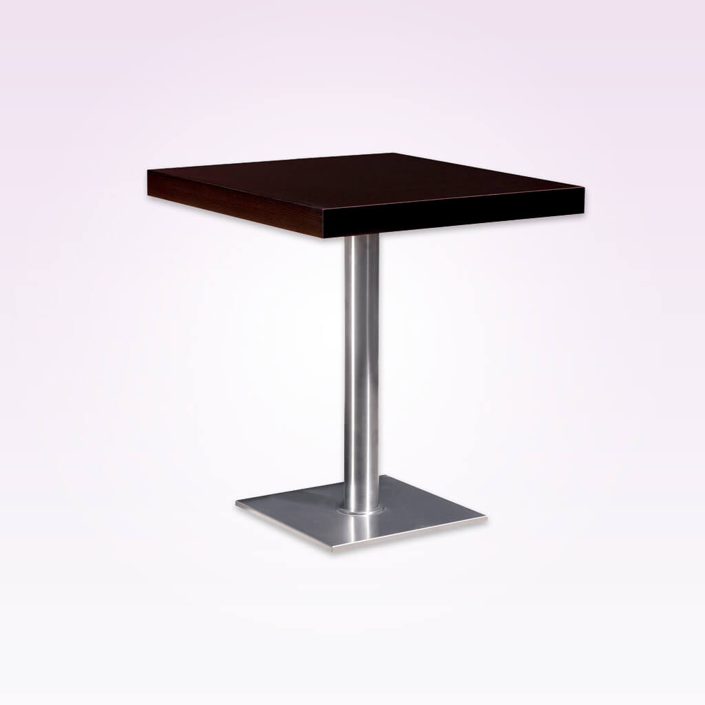 Flat modern bar table with square wooden top and square metal base plate and round pedestal. 1113