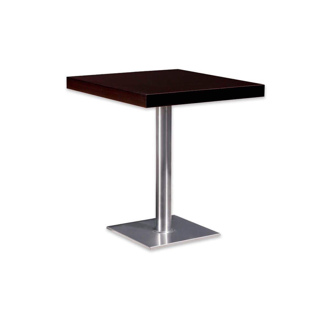 Flat modern bar table with square wooden top and square metal base plate and round pedestal. 1113 - Designers Image