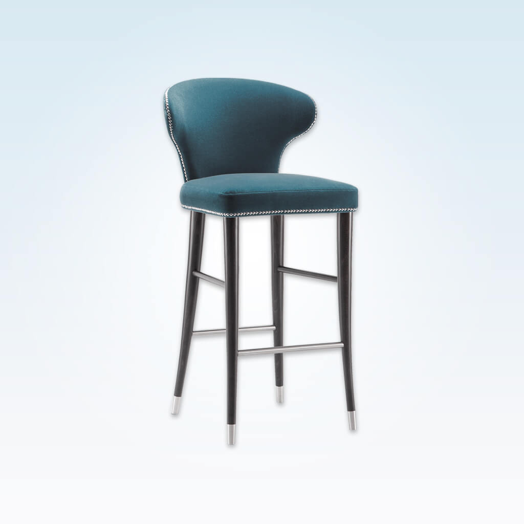 Florence blue bar stool with decorative studding and conical wooden legs with metal feet 6008 BR1