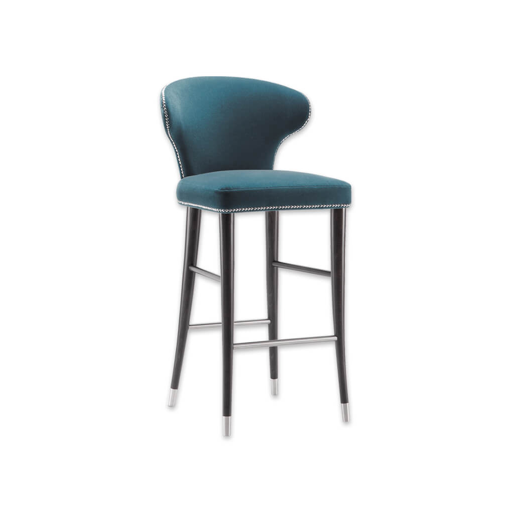 Florence blue bar stool with decorative studding and conical wooden legs with metal feet 6008 BR1 - Designers Image