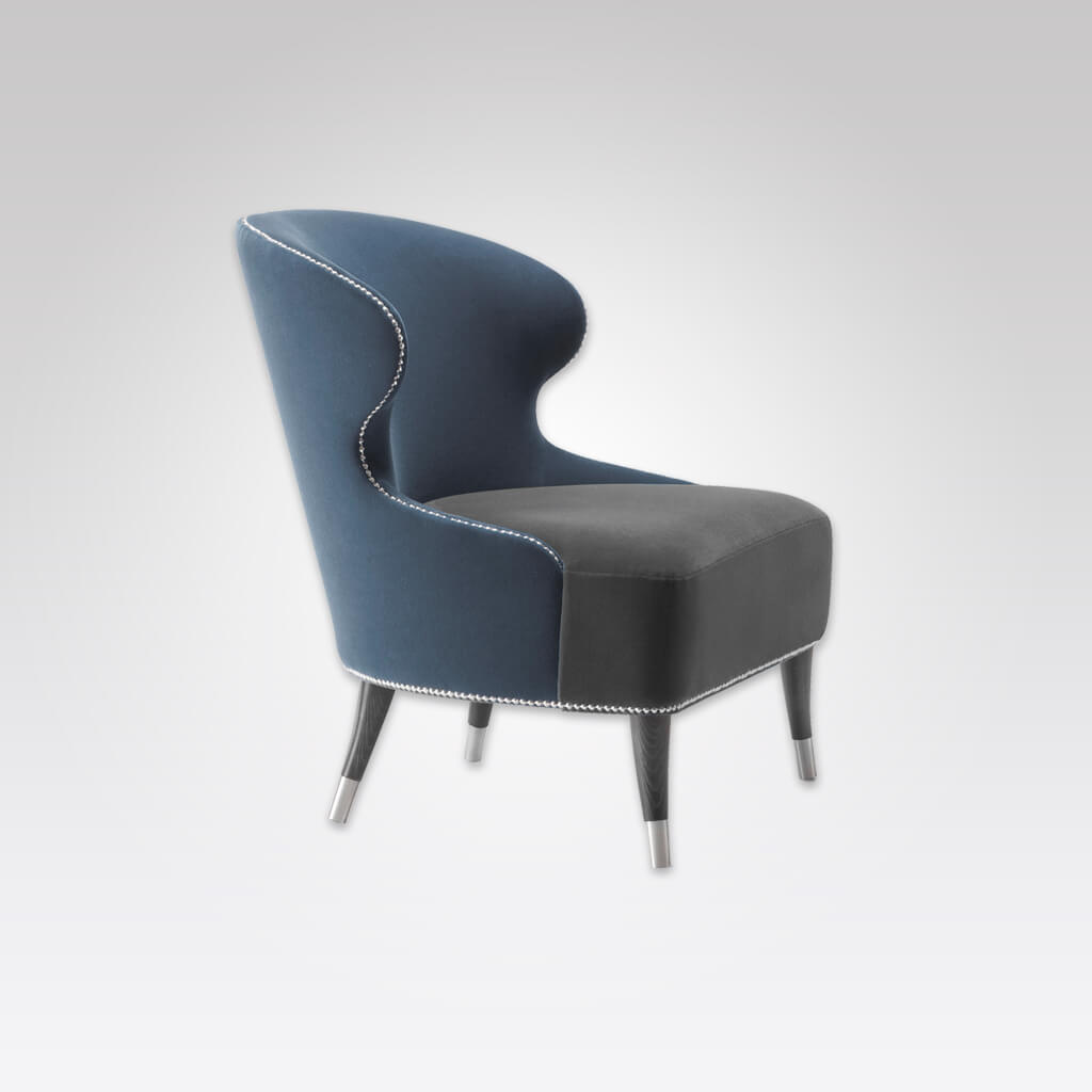 Florence Navy Blue Lounge Chair with Metal Slipper Cups Conical Legs and Studding 1009 LC1