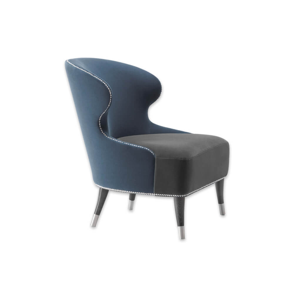 Florence Navy Blue Lounge Chair with Metal Slipper Cups Conical Legs and Studding 1009 LC1 - Designers Image