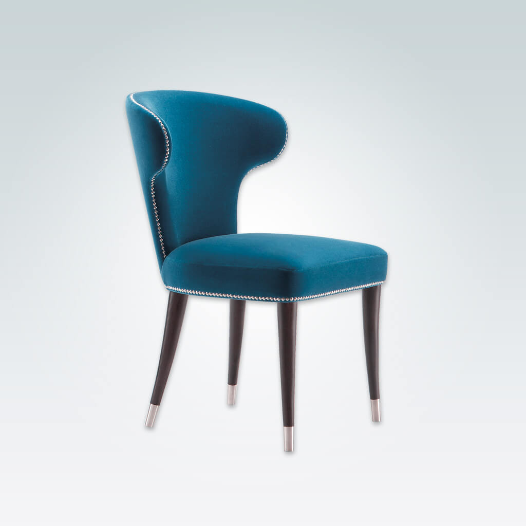 Florence Blue Wingback Dining Chair Fully Upholstered with Studding Detail Dark Conical Legs with Silver Leg Cups  3014 RC1