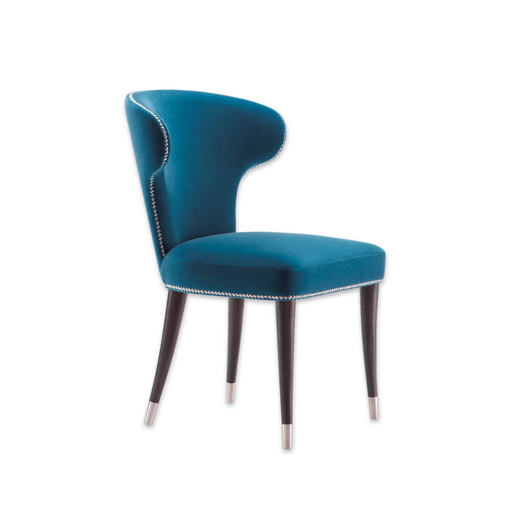 Florence Blue Wingback Dining Chair Fully Upholstered with Studding Detail Dark Conical Legs with Silver Leg Cups  3014 RC1 - Designers Image