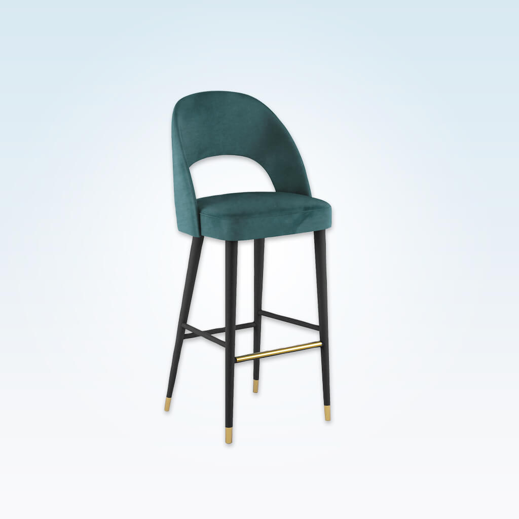 Forbes turquoise bar stool with large cut out to the backrest and conical wooden legs with metal feet 6065 BR1