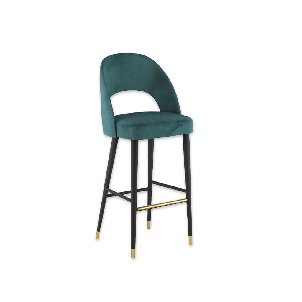 Forbes turquoise bar stool with large cut out to the backrest and conical wooden legs with metal feet 6065 BR1 - Designers Image