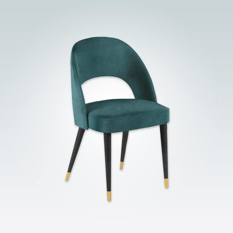 Forbes Green Fabric Back Dining Chair with Curved Back and Brass Slipper Cups 3082 RC1