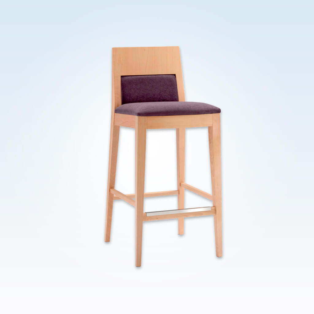 Fusion plum bar stool with light show wood backrest and wooden frame and metal reinforced kick plate 6017 BR1