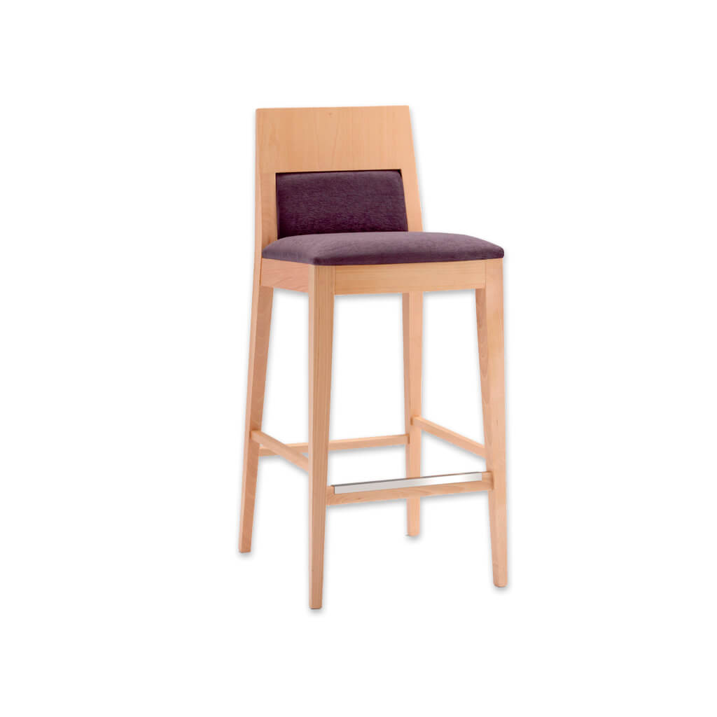 Fusion plum bar stool with light show wood backrest and wooden frame and metal reinforced kick plate 6017 BR1 - Designers Image