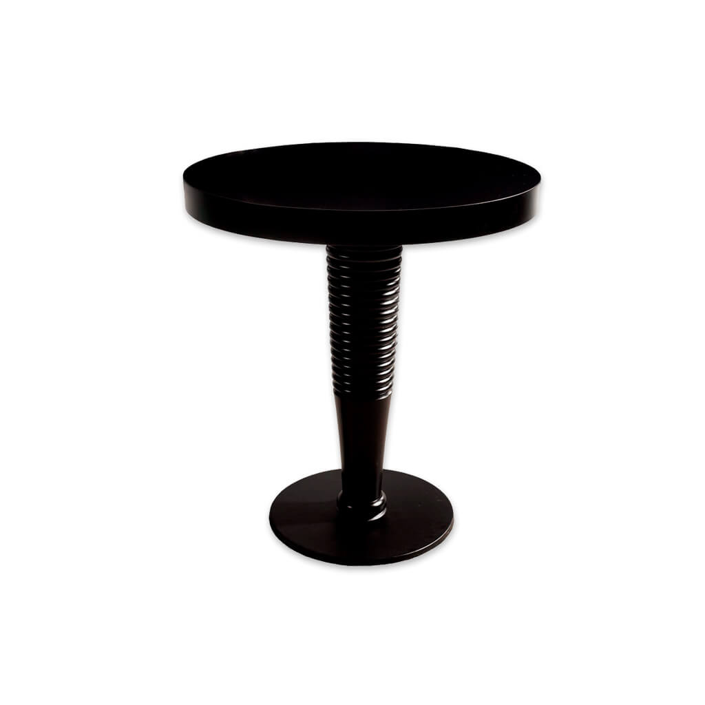 Galini modern black dining table with ridge detail to the pedestal and round top. 1115 - Designers Image