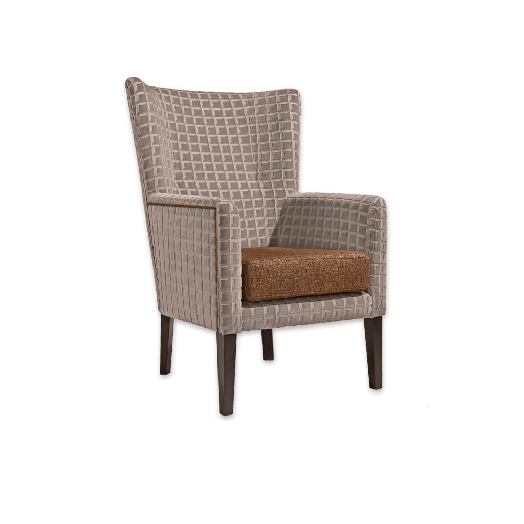 Garcia High Back Orange Armchair with Sutble Wing Design and Tiled Upholstery 1028 LC1 - Designers Image