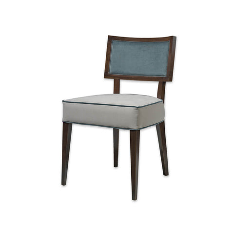 Georgia Blue and White Dining Chair Deep Seat Pad Upholstered with Contrasting Piping and Backrest Framed with Show Wood 3018 RC1