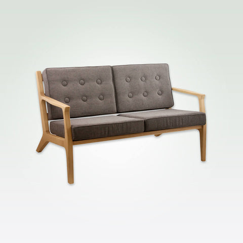 Harrison light brown two seater sofa with open wooden frame and padded seat cushions 8024 SF1