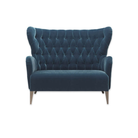 Heather winged high back velvet sofa in blue with decorative buttoning and tapered legs 8016 SF1