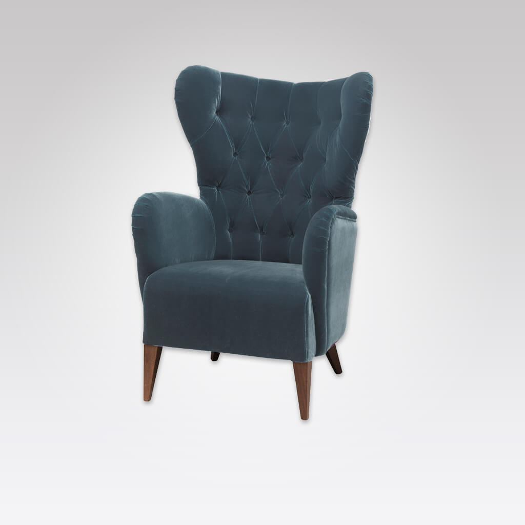 Heather Winged Turquoise Armchair with Deep Buttoned Upholstery 1022 LC1