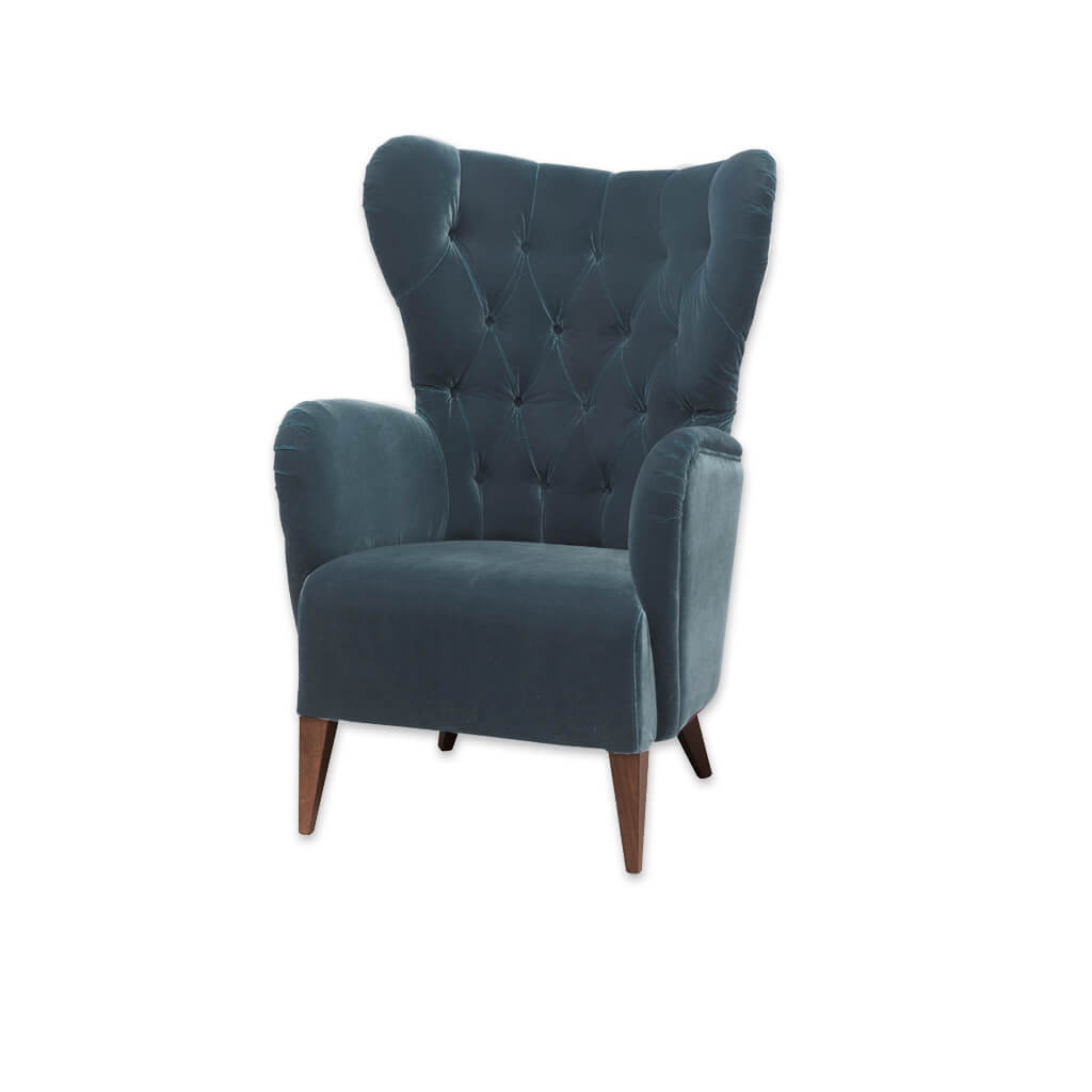 Heather Winged Turquoise Armchair with Deep Buttoned Upholstery 1022 LC1 - Designers Image