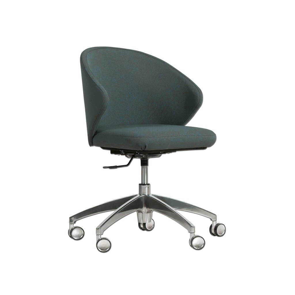 Hudson Curved Dark Green Desk Chair with Sloped Armrests and Metal Base 5023 DC1 - Designers Image