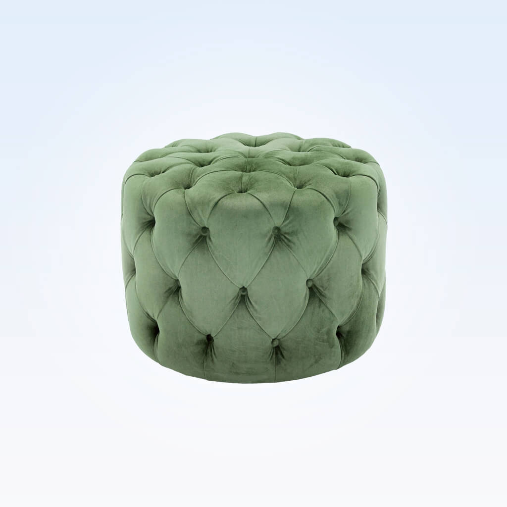 Hugo cylindrical small green ottoman padded with deep buttoning C60 OT1
