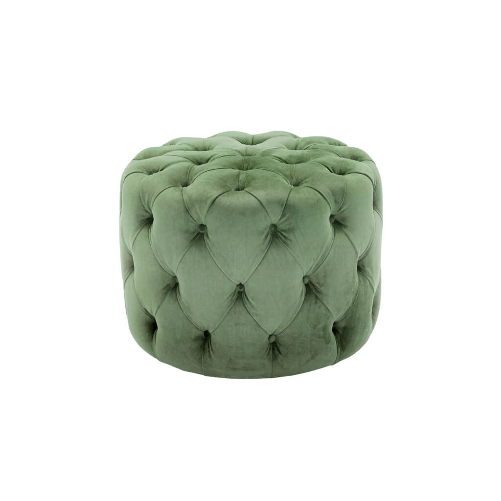 Hugo cylindrical small green ottoman padded with deep buttoning C60 OT1 - Designers Image