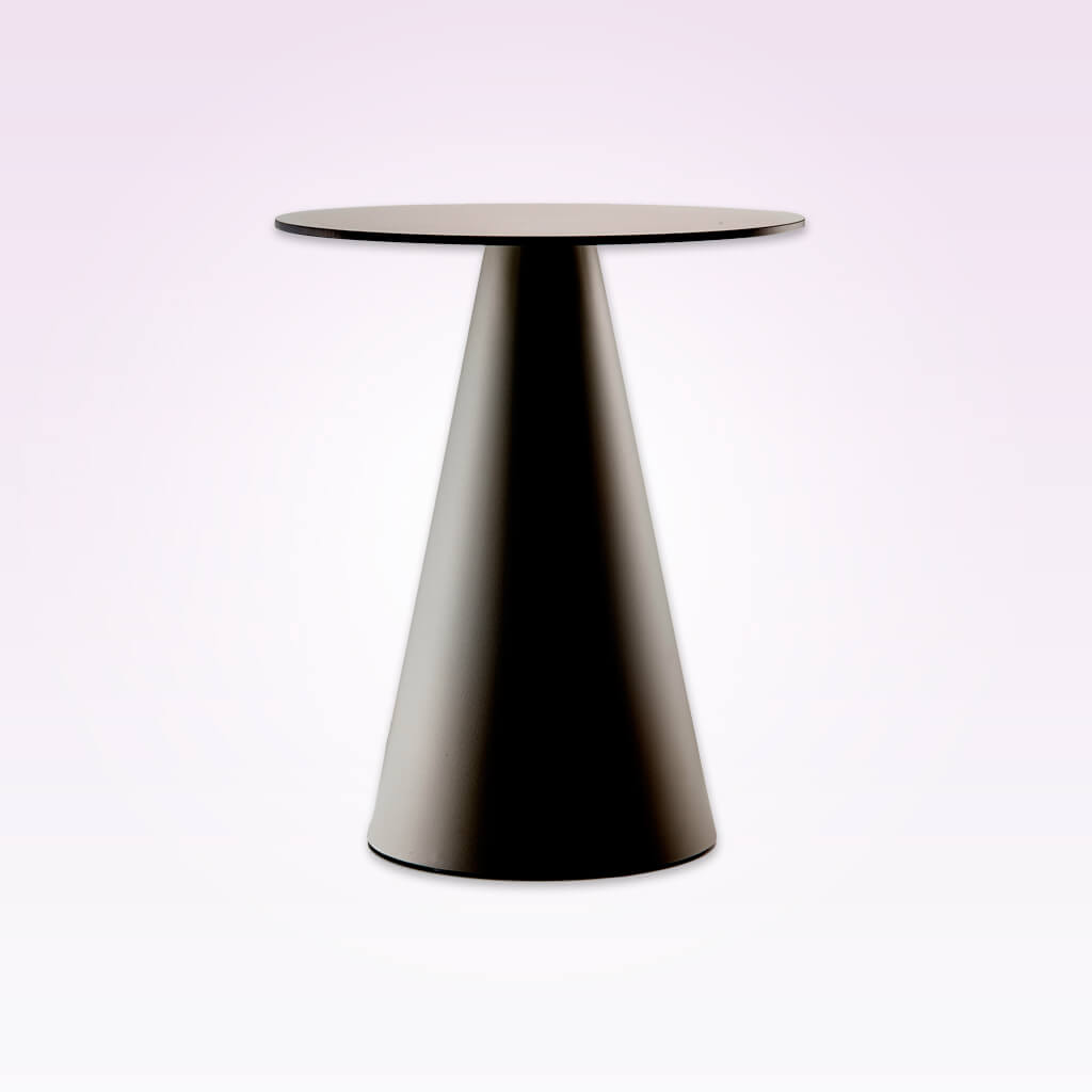 Ikon modern pedestal dining table with cone pedestal and round top. 365