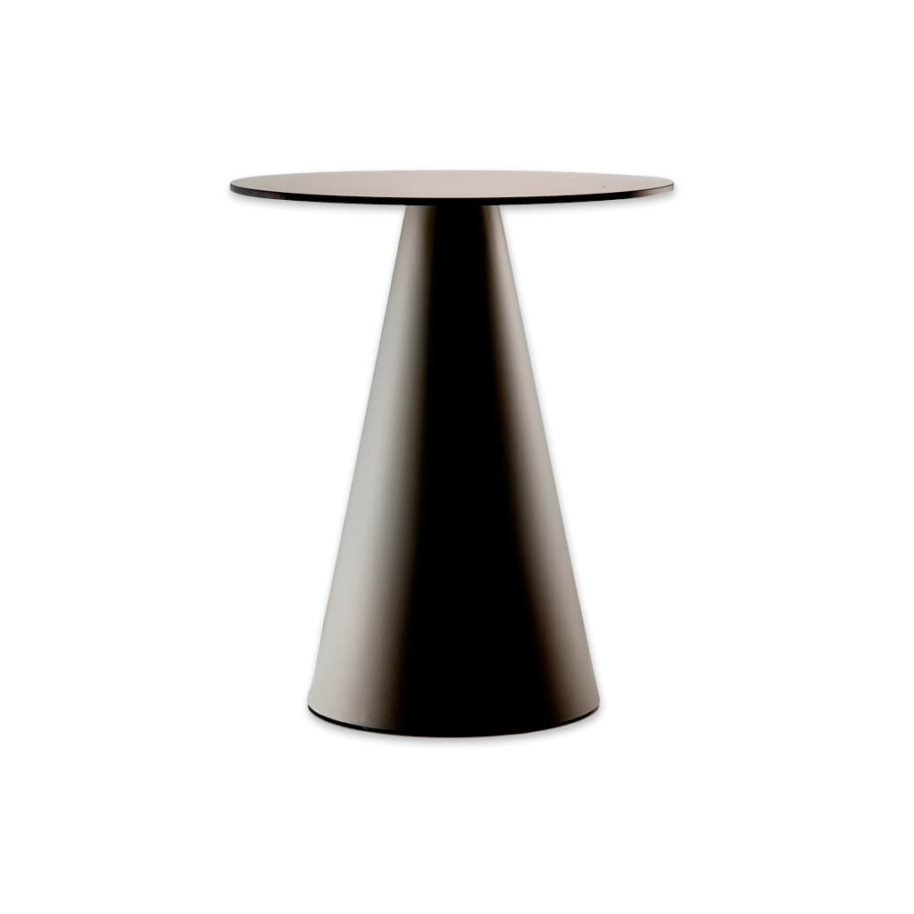 Ikon modern pedestal dining table with cone pedestal and round top. 365 - Designers Image