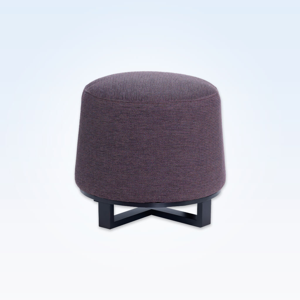 Immo purple round ottoman fully upholstered with wooden cross legs to the base 10002 OT1